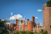 Hampton Court On A Summer Day With The Union Jack (British Flag) At Half Mast (a Sign Of National Mourning) In London, England, UK
