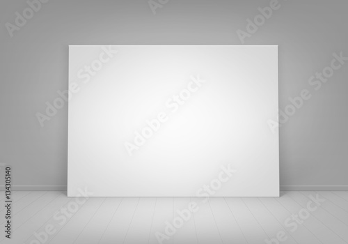Vector Empty Blank White Mock Up Poster Picture Frame Standing On