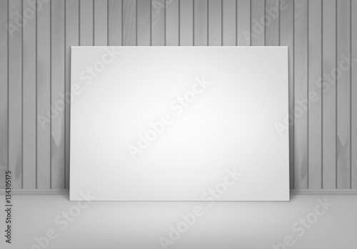 Vector Empty Blank White Mock Up Poster Picture Frame Standing On Floor With Wooden Wall Front