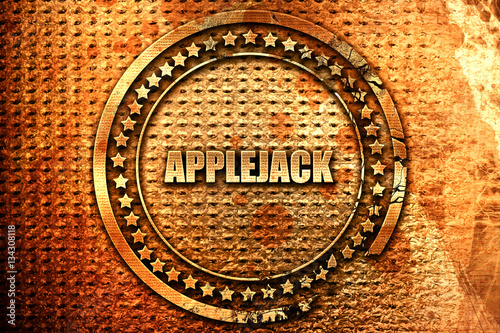 Photo  applejack, 3D rendering, grunge metal stamp