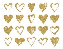 Valentine Day Gold Glitter Doo...