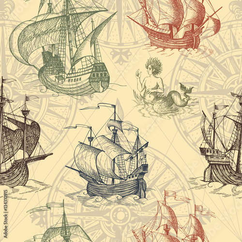Tapeta ścienna na wymiar Old caravel, vintage sailboat, sea monster. Vector seamless pattern
