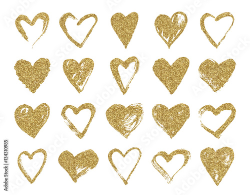 961b1b53e04d Valentine day gold glitter doodle hearts. Hand drawn hearts brushes for  wedding and valentine cards