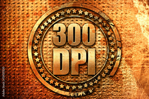 Fotografia  300 dpi, 3D rendering, grunge metal stamp