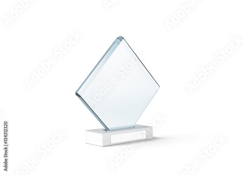blank glass trophy mockup stand on clear marble base 3d rendering