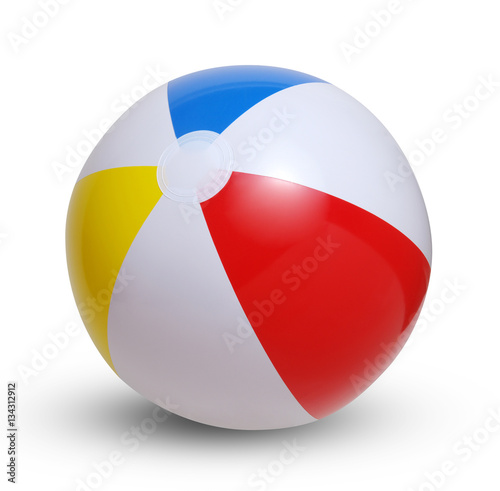 Fotografie, Obraz Beach ball on a white