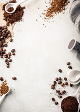 Background With Assorted Coffee, Coffee Beans, Ground And Instant, Pads And Capsules, Retro Slyle Toned, Copy Space, Top View.