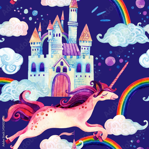 Staande foto Kasteel Watercolor unicorn and castle seamless pattern