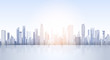 City Skyscraper View Cityscape Background Skyline Silhouette with Copy Space Vector Illustration