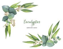Watercolor Vector Wreath With ...