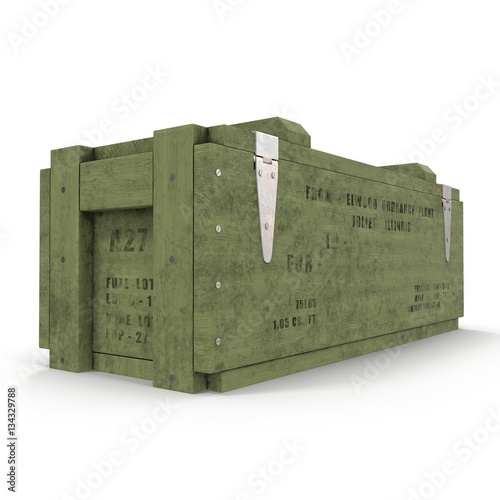 Photo  Green military box with explosive isolated on white