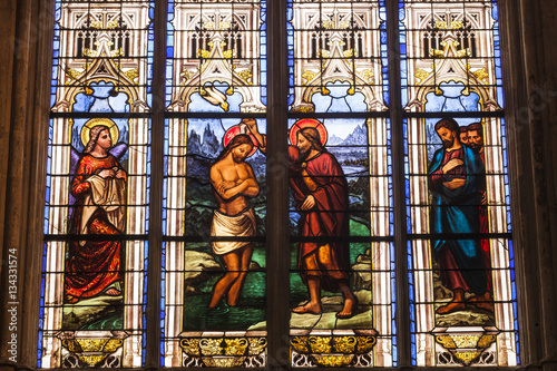 Stained glass in Saint Gatien cathedral, France.
