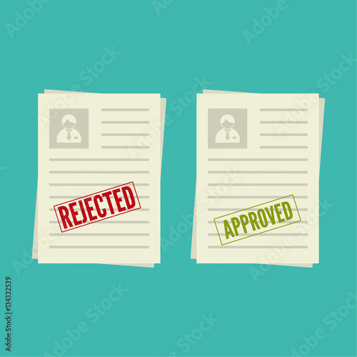 pack sheets paper with stamp of rejected  approval