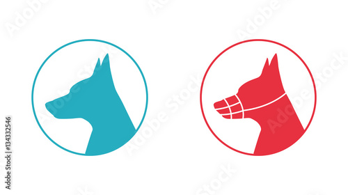 Silhouette of a dog head with muzzle, icon Fototapete