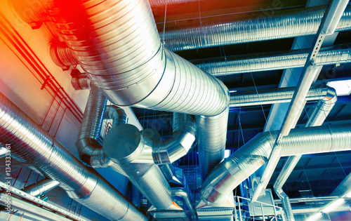 System of industrial ventilating pipes Slika na platnu