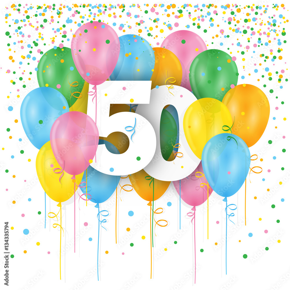 HAPPY 80th BIRTHDAY ANNIVERSARY Card With Bunch Of Multicoloured Balloons Foto Poster Wandbilder Bei EuroPosters