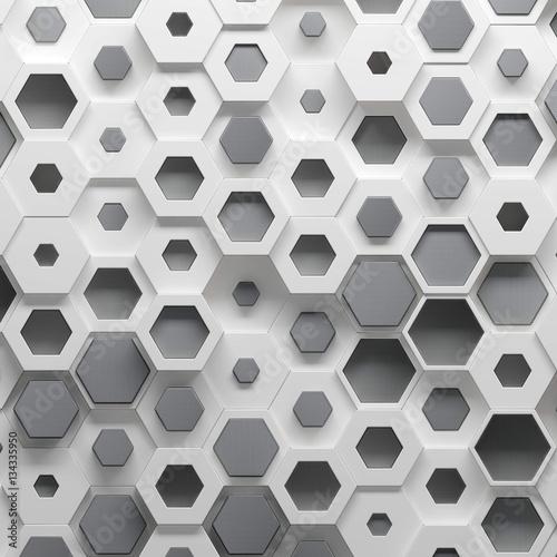 Zdjęcie XXL Parametryczny heksagonalny wzór, 3d ilustracja