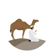 Man Praying And Camel With White Background
