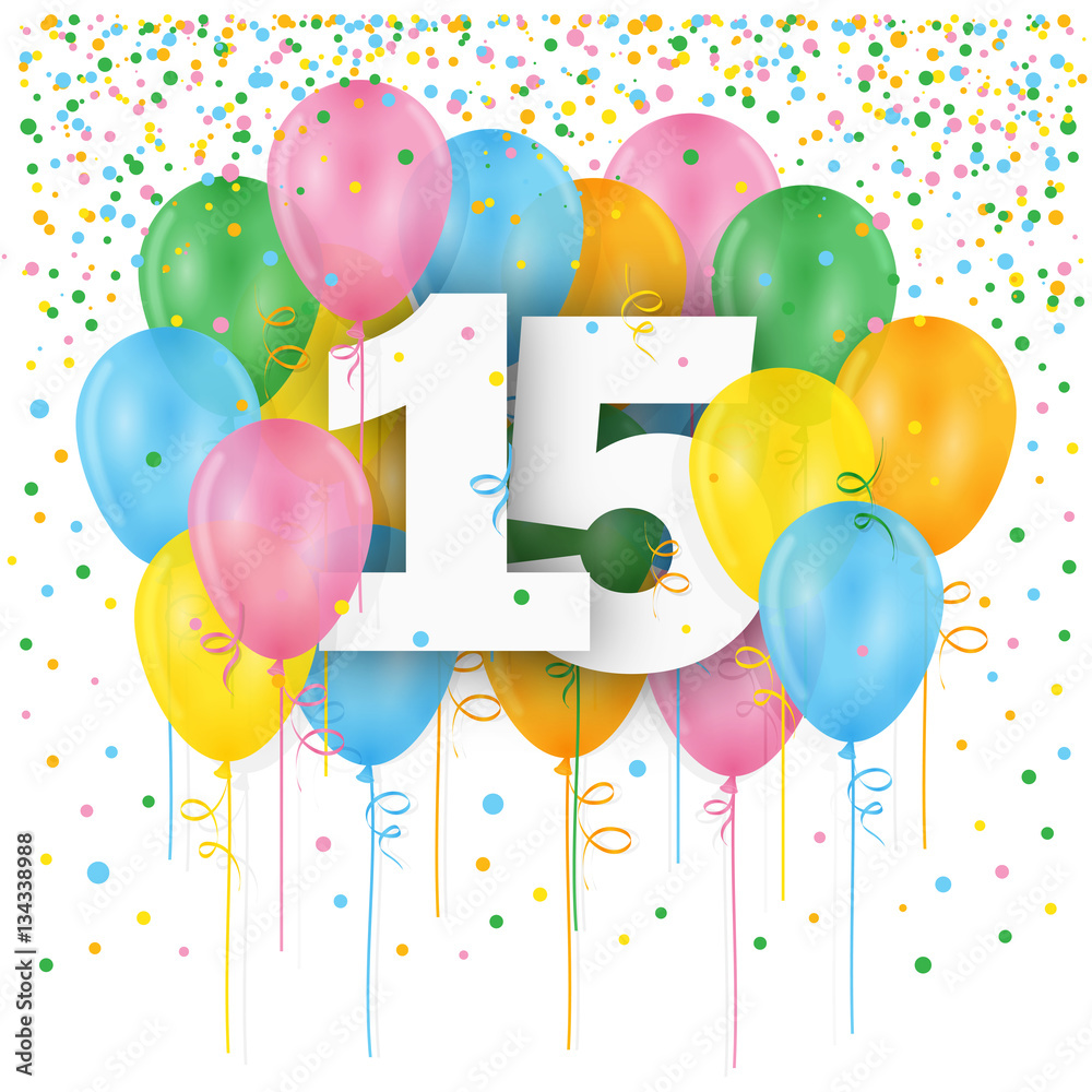 Photo Art Print HAPPY 15th BIRTHDAY ANNIVERSARY Card With Bunch Of Multicoloured Balloons