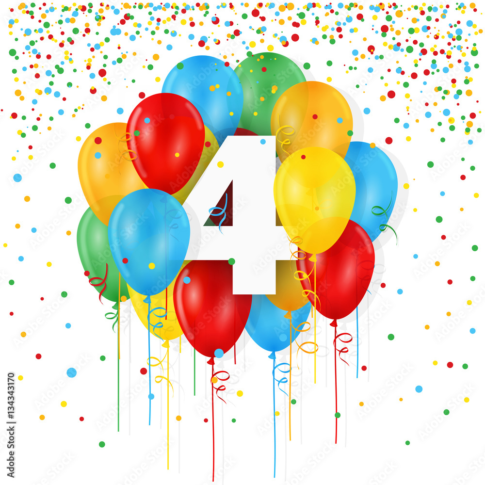 HAPPY 4th BIRTHDAY Card With Bunch Of Balloons And Streamers Foto Poster Wandbilder Bei EuroPosters