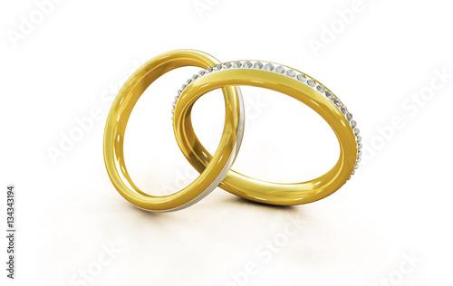 Zwei Ringe Aus Gold Mit Vielen Diamanten Konzept Hochzeit