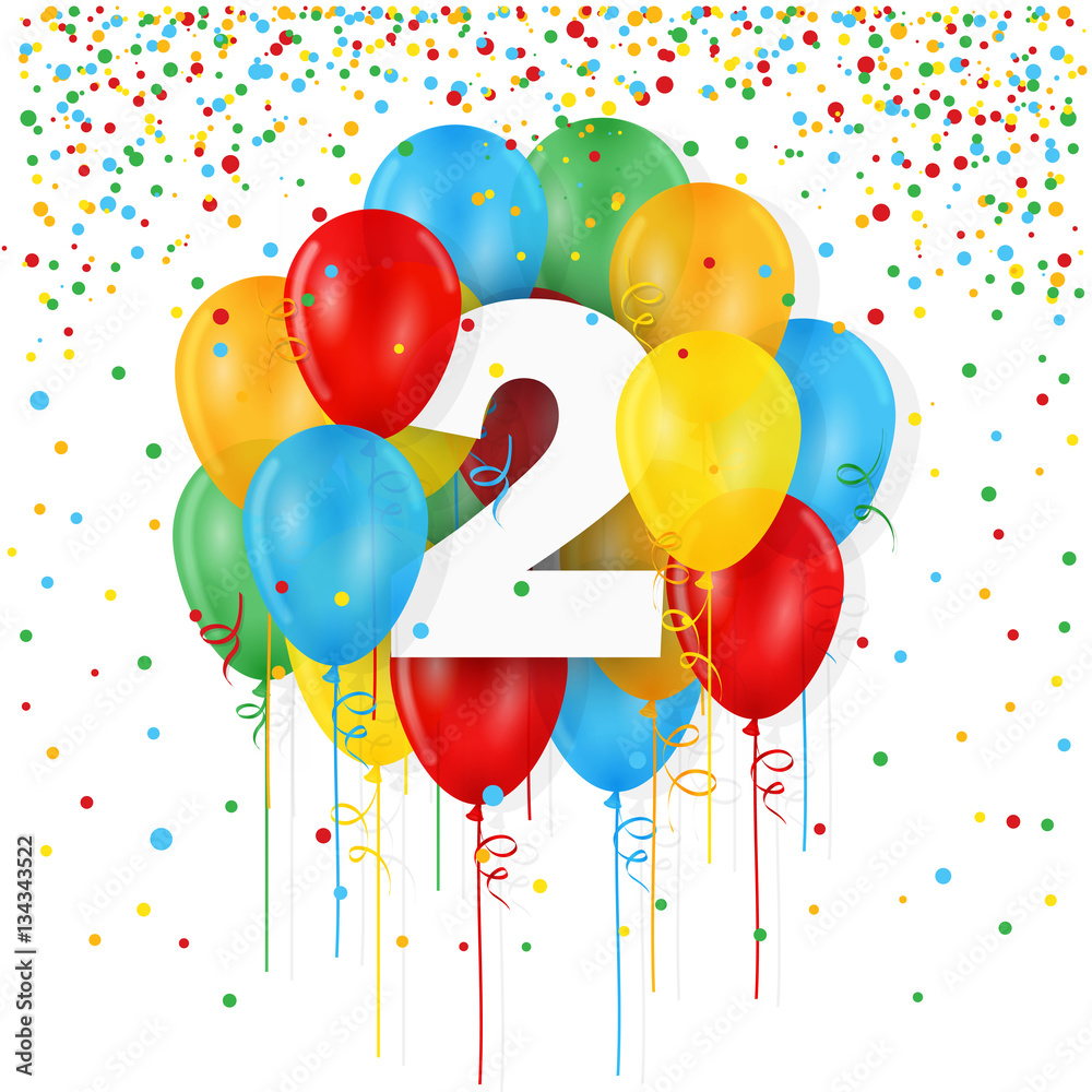 HAPPY 2nd BIRTHDAY Card With Bunch Of Balloons And Streamers Foto Poster Wandbilder Bei EuroPosters