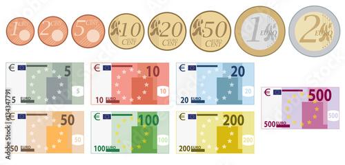 Cuadros en Lienzo Euro Währung komplettes Set von Münzen und Scheine