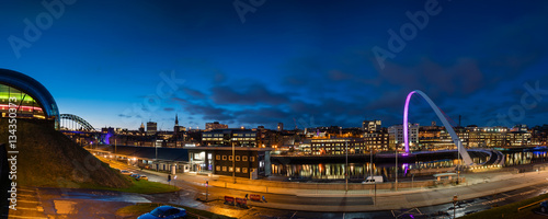 Wall Murals Northern Europe Newcastle Quayside Panorama at night, on the banks of the River Tyne, with its famous bridges and Newcastle upon Tyne skyline beyond