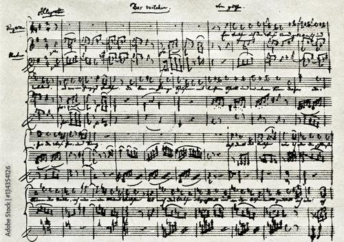 Vászonkép Beginning of Mozart's music for Goethe's poem Veilchen, 1785