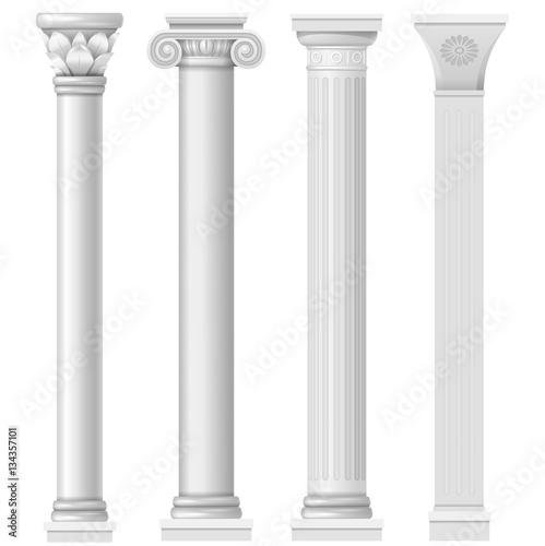 Classic antique white columns in vector graphics Canvas Print