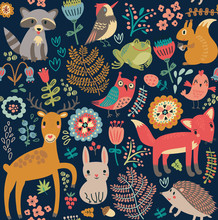 Seamless Pattern, Animals In T...