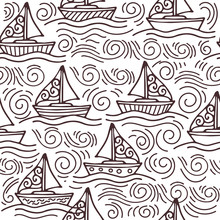 Inspiring Seamless Pattern With Ships And The Sea Waves