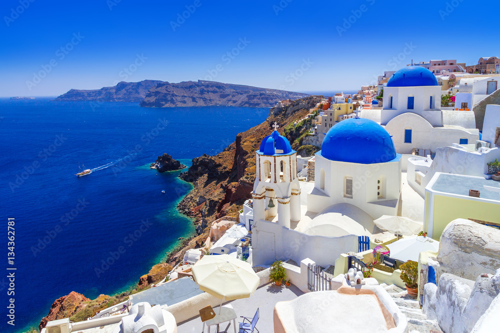 Fototapeta Beautiful Oia town on Santorini island, Greece