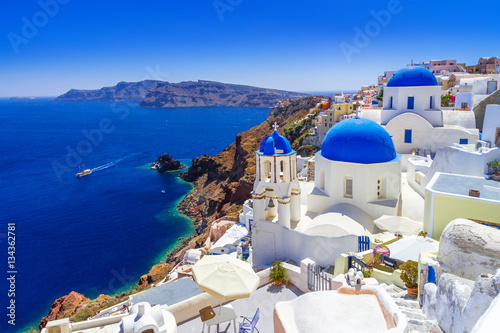 Poster Mediterraans Europa Beautiful Oia town on Santorini island, Greece