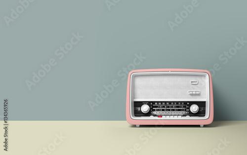 Poster Retro Vintage antique retro old radio on background
