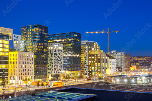 Bjorvika business quarter (Barcose). Night cityscape.
