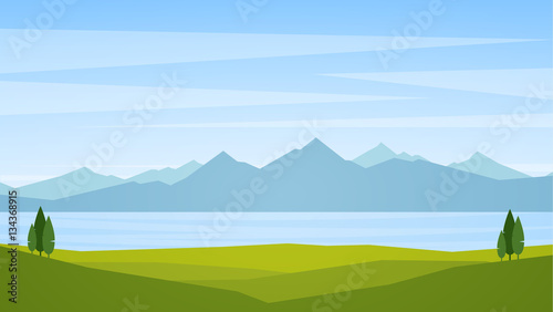 Fotografia Vector illustration: Landscape with lake or bay and mountains on horizon