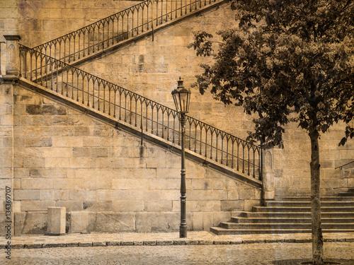Plakat Szczegół Charles most, Praga, republika czech, w sepiowym
