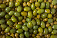 Background Of Olives. Background With Green Olives. Olives.  Olive
