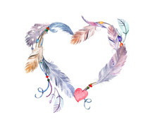 Watercolor Feathers Frame. Han...