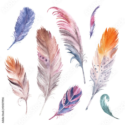 akwarelowe-kolorowe-piora-na-bialym-tle