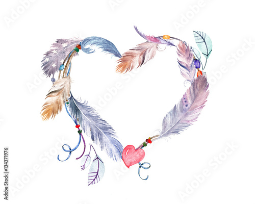 watercolor feathers frame  hand drawn boho print for