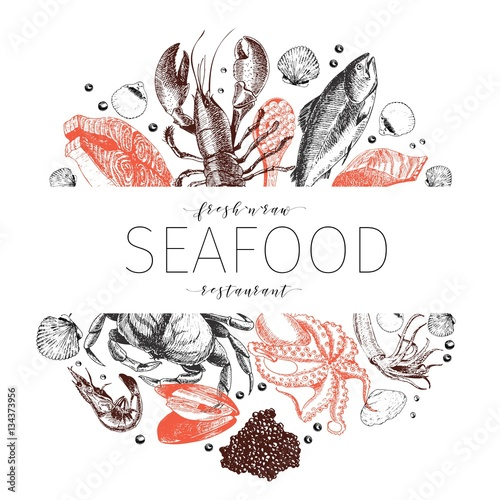 Photo Vector hand drawn seafood banner