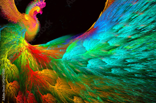 illustration of a fractal background of bright beautiful peacock