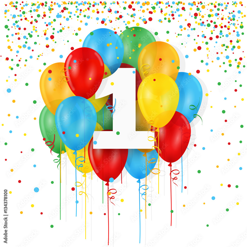 HAPPY 1st BIRTHDAY ANNIVERSARY Card With Bunch Of Multicoloured Balloons Foto Poster Wandbilder Bei EuroPosters