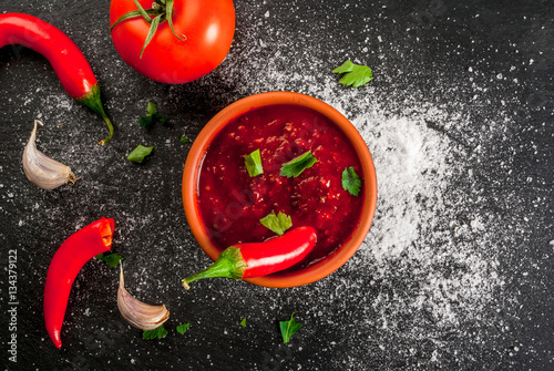 Canvas Prints Hot chili peppers Spicy tomato sauce with chili pepper, salt and herbs. View from above. Against the background of ingredients
