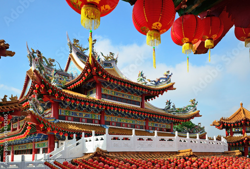 Recess Fitting Kuala Lumpur Thean Hou Temple decorated with red chinese lanterns during month of Chinese New Year, Kuala Lumpur, Malaysia.