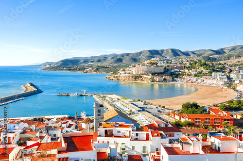 Spain. Valencia, Peniscola. View of the sea from a height of Pope Luna's Castle