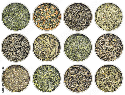 Fotografering  loose leaf  green tea collection