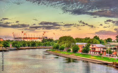 Foto op Canvas Australië The Yarra River with Melbourne Cricket Ground - Australia